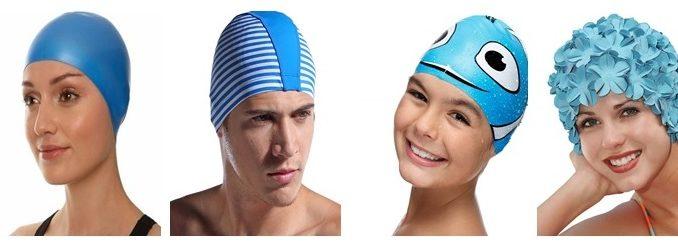 Разные модели плавательных шапочек для бассейна
