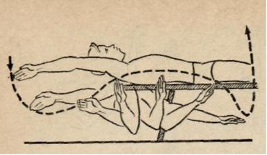 Упражнение на суше для отработки техники рук при плавании кролем на спине